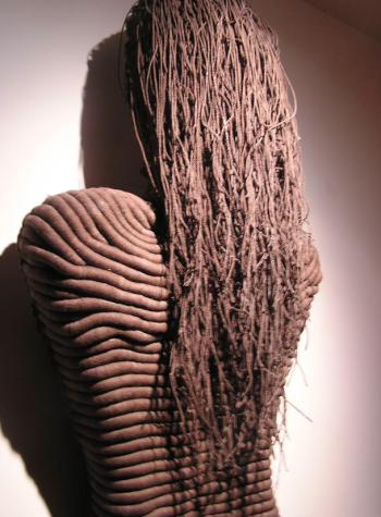 "Dina Resca, ""Gender & Democracy."" Wrapping in various caliber ropes. 110 X 55 cm"